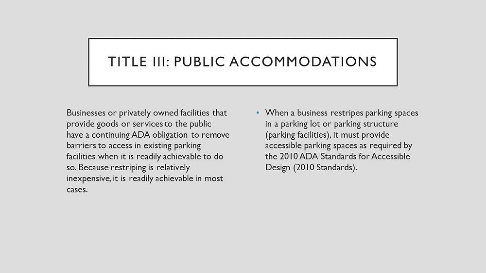 Title III Public Accommodations