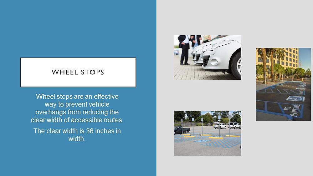Wheel stops prevent vehicle overhang