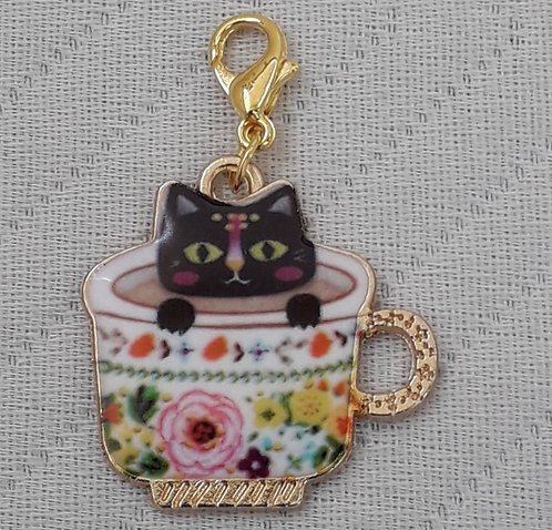 Cute Kitty in China Cup Charm