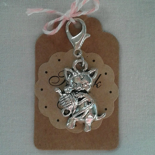 Silver Cute Kitty Charm