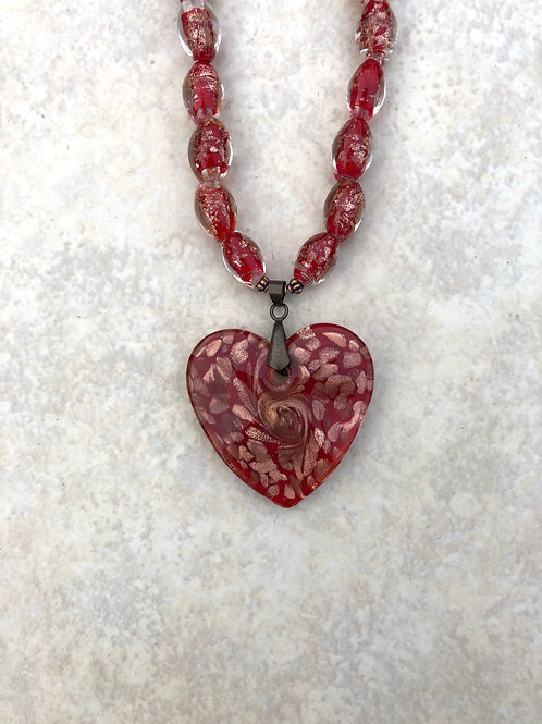 Red Foil Glass Heart Necklace