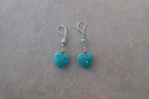 Amazonite Heart Earrings