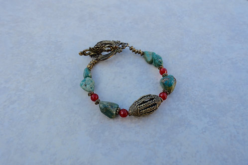Turquoise Carnelian Bronze Bracelet