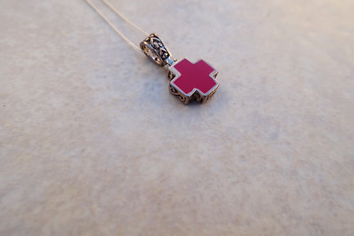 Red Cross Filigree Necklace