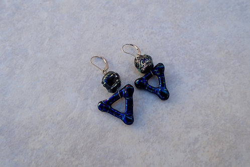 Art Dichroic and Fused Glass Triangle Earrings