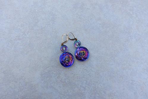 Czech Glass Double Flower Earring
