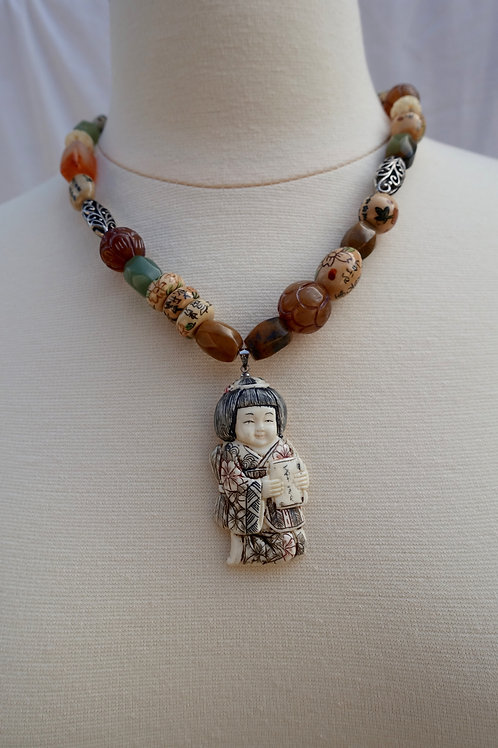Asian Doll Beaded Necklace
