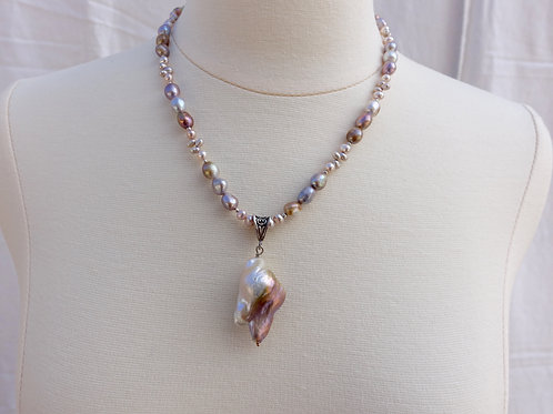Baroque Pink and Taupe Pearls