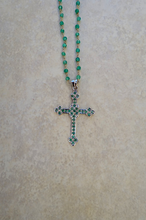 Emerald Sterling Cross Necklace