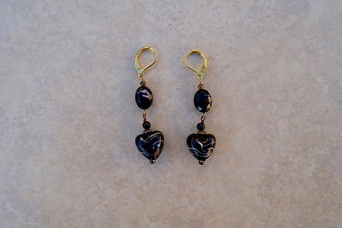 Black Glass Heart Earrings