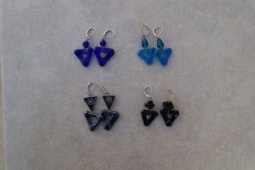 Fused Glass Triangle Earrings