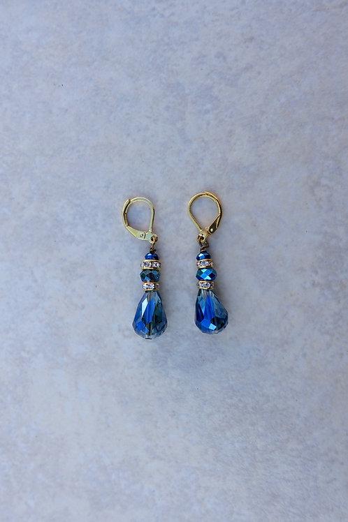 Blue Drop and Rhinestones Crystal Earrings