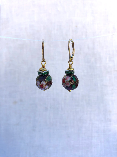Red Cloisonne and Green Rhinestones