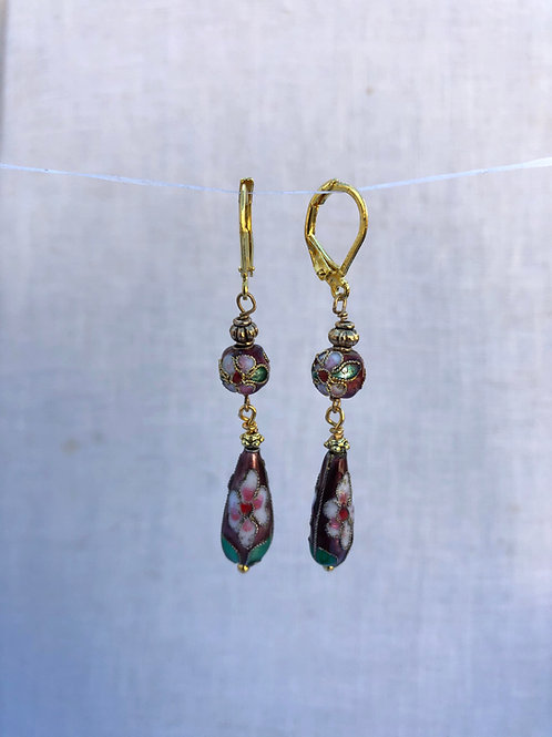 Red Teardrop and Beaded Cloisonne Earring
