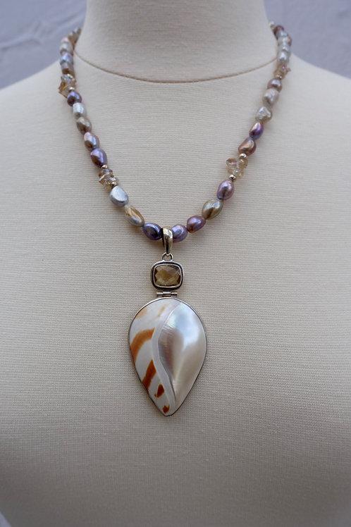 Polish Natuilus Topaz and Pearls