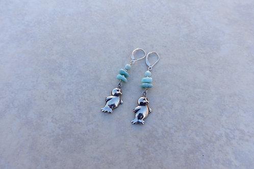 Seals and Larimar Earrings