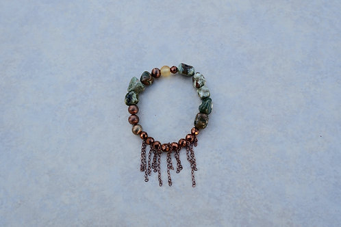 Green Jaspers and Copper Bracelet