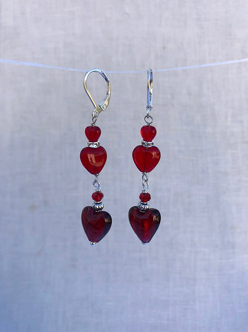 Triple Glass Hearts with Silver Color