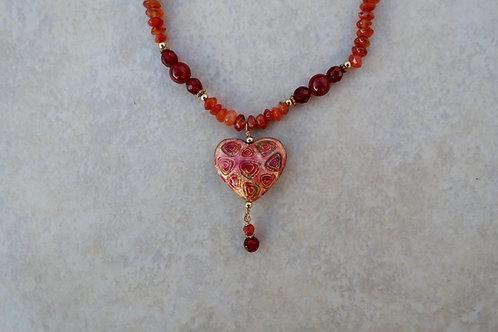 Orange Cloisonne Heart and Carnelian