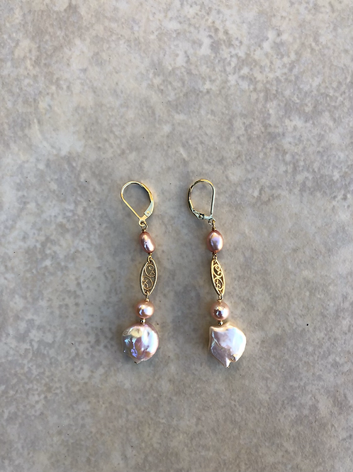 Pink Pearls and Filigree Link Earrings