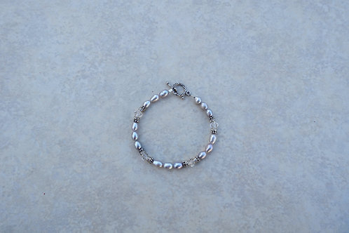 Gray Rice Pearls and Crystal Bracelet