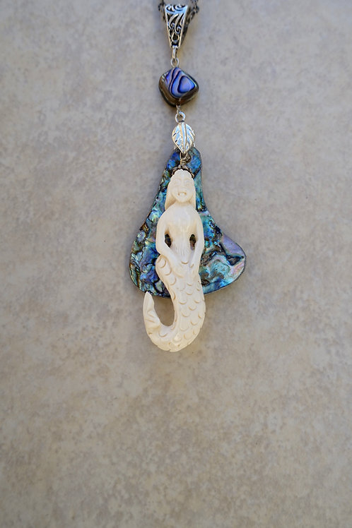 Mermaid and Abalone Long Necklace