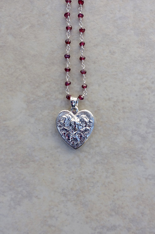 Sterling Silver Heart with Lady with Swirling Hair