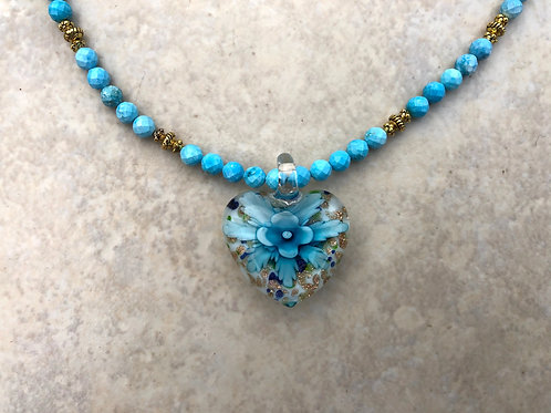 Blue Heart with Flower Glass Pendant