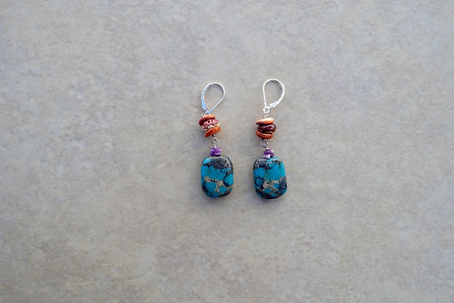 Turquoise Rectangles with Spiny Oyster Earrings