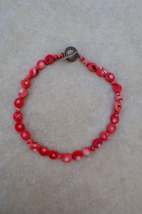 Branch Orange Coral Coin Necklace