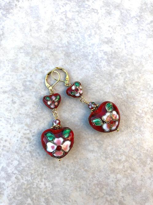 Double Heart Cloisonne Earrings