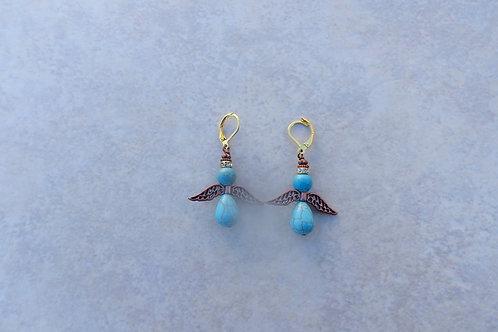 Turquoise Magnesite Angel Earrings