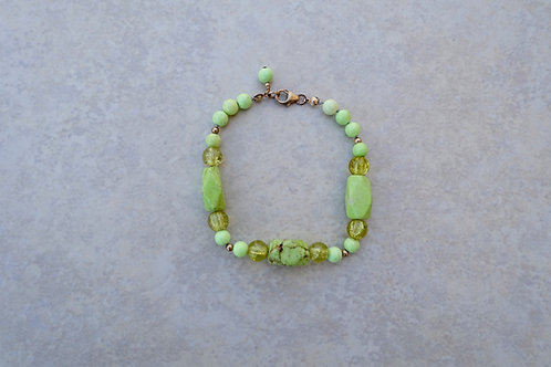 Yellow Turquoise, Howlite and Cracked Glass