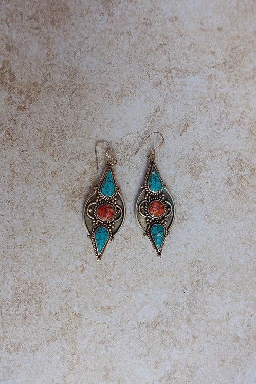 Nepalese Inlay Large Earrings