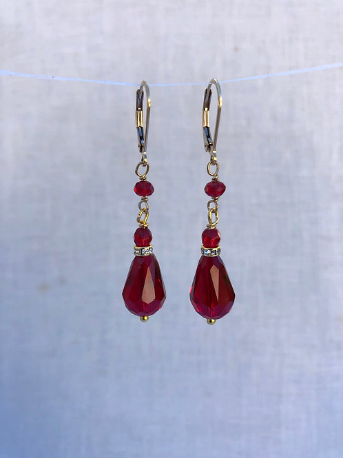 Teardrop Red Crystal Earrings Gold