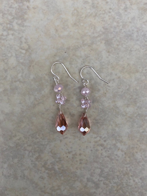 Pink Crystals Earring