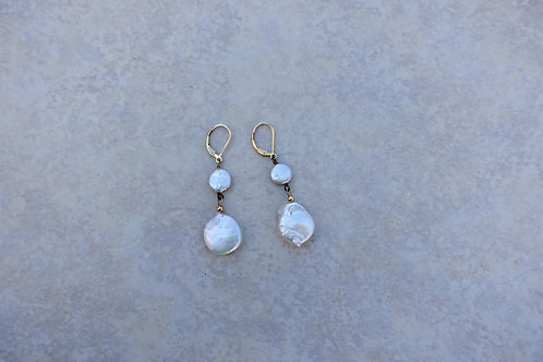 Double White Coin Pearls