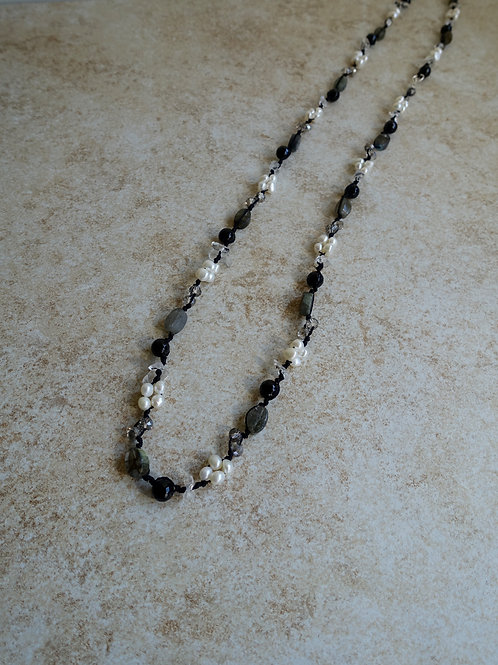 Labordorite, Crystal, Pearls, and Quartz Necklace