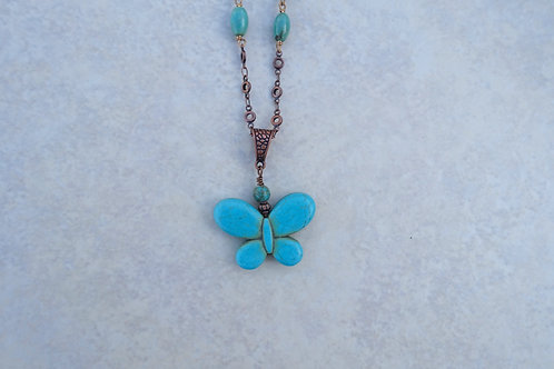 Magnesite Turquoise Butterfly Copper Chain