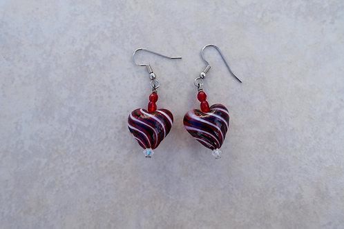 Blown Glass Heart Earrings
