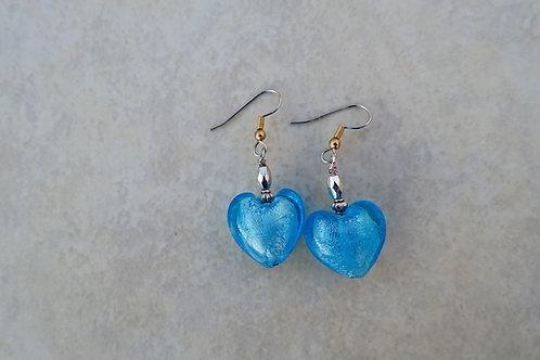 Turquoise Blue Glass Heart Earrings