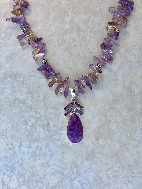 Charoite and Ametrine Necklace
