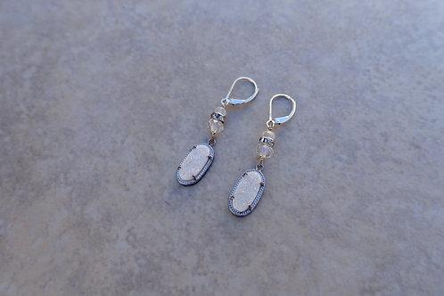 White Drusy Earrings