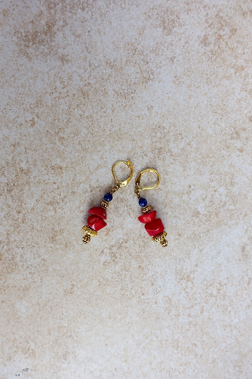 Red Coral and Lapis Earring