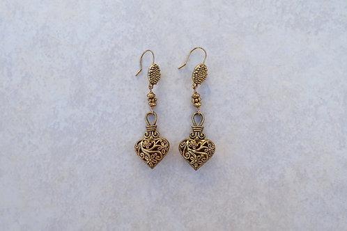 Puffy Gold Pewter Heart Earrings