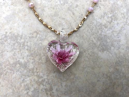 Pink Glass Flower Heart Necklace