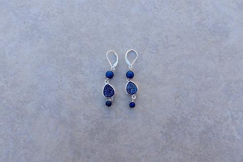 Blue Drusy Teardrop Earring
