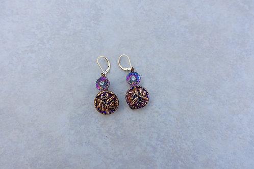 Czech Pink Purple Dragonflies Earrings