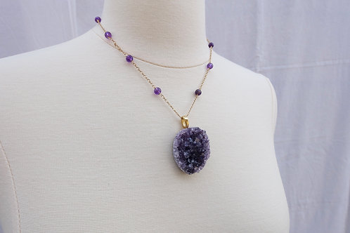 Amethyst Crystals and Gold Necklace
