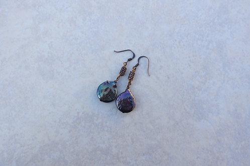 Blue Purple Copper Coin Pearl Earrings